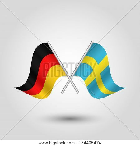 vector waving simple triangle two crossed german and swedish flags on slanted silver pole - icon of germany and sweden