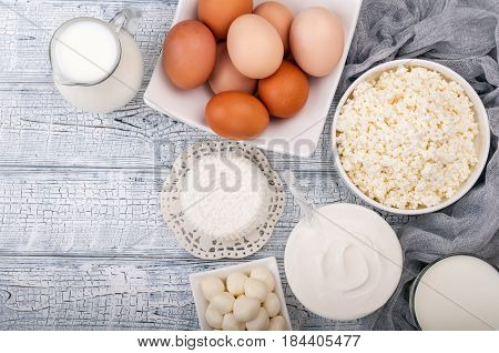 cream cheese egg yogurt and butter. Healthy food diet concept. Copy space. Top view