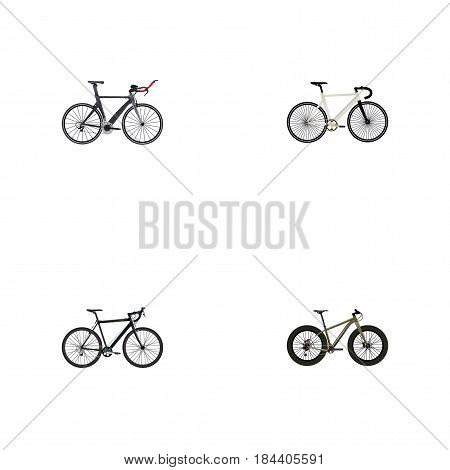 Realistic Bmx, Cyclocross Drive, Road Velocity And Other Vector Elements. Set Of Lifestyle Realistic Symbols Also Includes Bmx, Bicycle, Triathlon Objects.