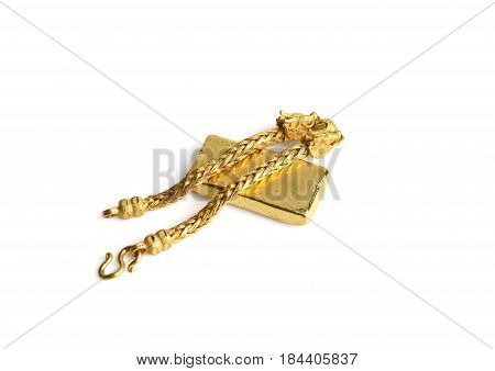 Gold Chain And Gold Bar On A White Background