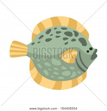 Flat Flounder Fish, Part Of Mediterranean Sea Marine Animals And Reef Life Illustrations Series. Aquarium Element Isolated Stylized Icon, Underwater Inhabitant Artistic Sticker.