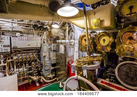 HONOLULU, OAHU, HAWAII, USA - AUGUST 21, 2016: entrance of the machine engine room of USS Bowfin Submarine SS-287 at Pearl Harbor. Popular tourist attraction in Oahu, Hawaii.