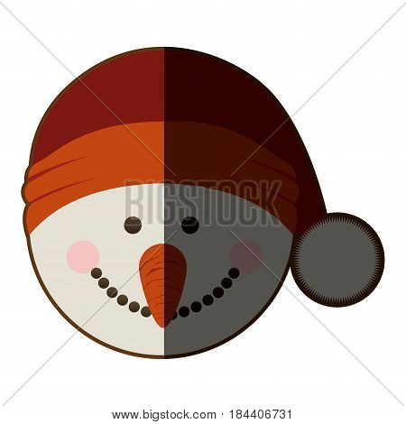 silhouette of snowman head with christmas hat and half shadow vector illustration