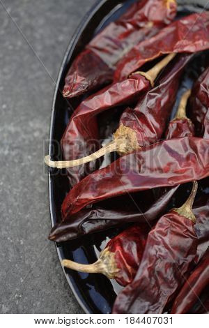 Close up of dried red chilies