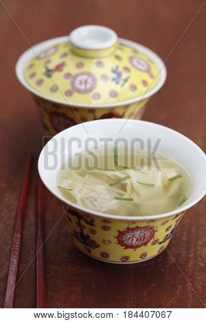 Close up of won ton soup