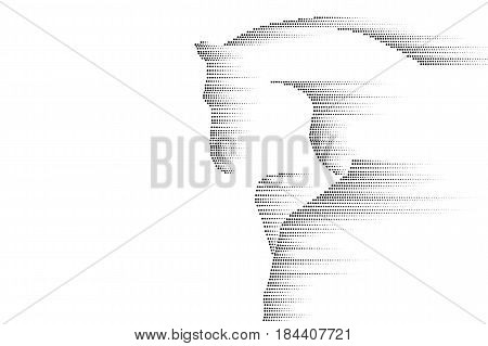 Racing galloping running horse. Abstract black sketch design isolated on white. Mustang silhouette line point dots fast speed concept vector illustration art