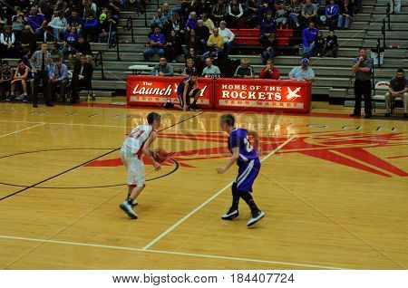 player dribbling basketball, Pandora Gilboa High School verses Leipsic High School, boys basketball game, Pandora, Ohio, December 26th, 2015