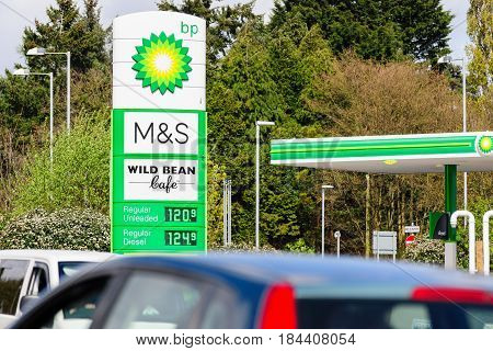 Shropshire UK - April 15 2017: BP Connect and Wild Bean cafe sign in a British filling station partnered with Marks and Spencer M&S Simply food offering convenience store shopping on the forecourt