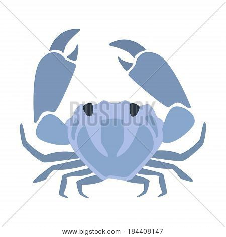 Blue Crab, Part Of Mediterranean Sea Marine Animals And Reef Life Illustrations Series. Aquarium Element Isolated Stylized Icon, Underwater Inhabitant Artistic Sticker.