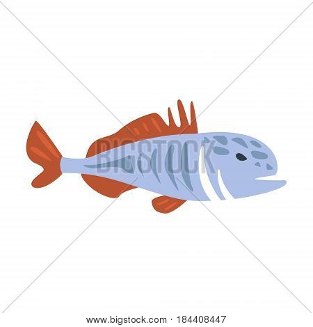 Red And Blue Jack Fish, Part Of Mediterranean Sea Marine Animals And Reef Life Illustrations Series. Aquarium Element Isolated Stylized Icon, Underwater Inhabitant Artistic Sticker.