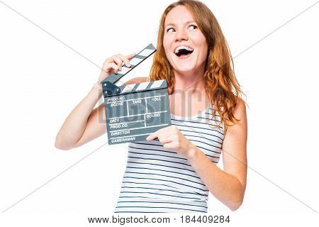 Emotional Portrait Of An Actress With A Movie Clapper On A White Background