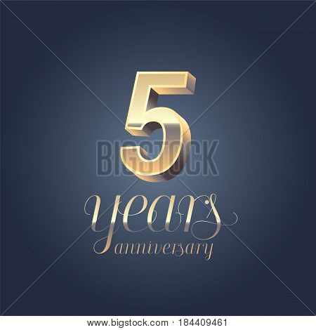 5th anniversary vector icon logo. Gold color graphic design element for 5 years anniversary birthday banner