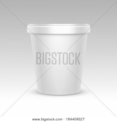 Vector White Blank Food Plastic Tub Bucket Container For Dessert, Yogurt, Ice Cream, Sour Cream for Package Design Mock Up Close up Side View Isolated on White Background