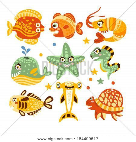 Cartoon underwater world with fish, plants, marine life. Underwater world set of colorful characters vector Illustrations isolated on white background