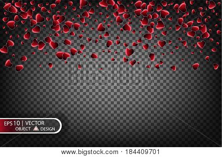 Vector Festive illustration of falling shiny red hearts isolated on a transparent background. Confetti for love messages, picture design for Valentine's day. Festive decorative tinsel for design.