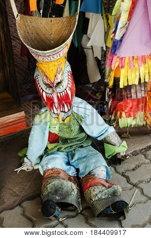 Mask And Costume Phi Ta Khon Of Ghost Festival Also Known As Bun Pha Wet For People Visit At Phi Ta
