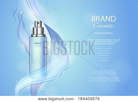 Vector poster with moisturizing cosmetic skin care premium product, spray bottle and watery texture on blue backgroun.