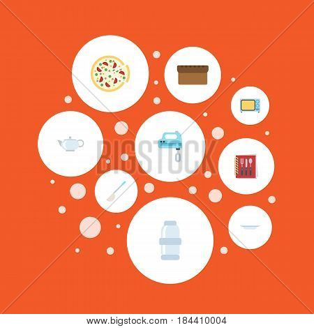 Flat Electric Stove, Teapot, Blender And Other Vector Elements. Set Of Gastronomy Flat Symbols Also Includes Ladle, Kettle, Bakery Objects.