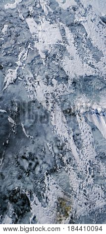 Ice landscape, aerial view, abstract bacground .
