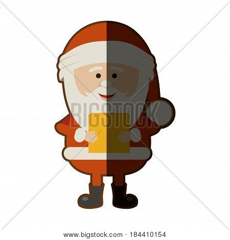 colorful silhouette of santa claus with package and half shadow vector illustration