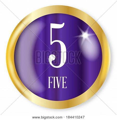 5 fo Five button from the NATO phonetic alphabet/number with a gold metal circular border over a white background