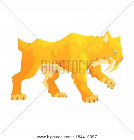 A saber toothed tiger, a stone age character, colorful vector illustration isolated on a white background
