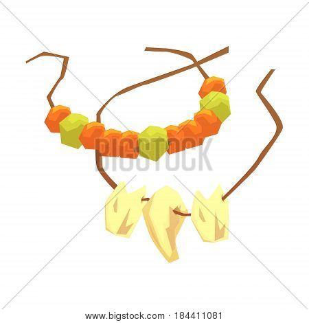 Primitive necklaces made of animal teeth and gemstones, colorful vector illustration isolated on a white background