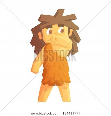 Cute cave girl dressed in animal skins, stone age character, colorful vector illustration isolated on a white background