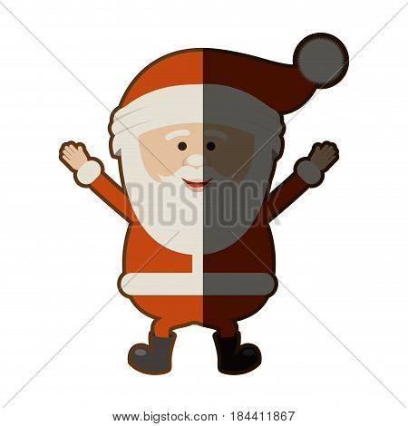 colorful silhouette of santa claus happy and half shadow vector illustration