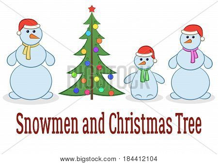 Set of Cartoon Snowmen, Snowballs Family, Mother, Father and Baby with Christmas Fir Tree, Holiday Symbols for Your Design, Isolated on White Background. Vector