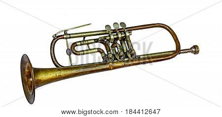 Old vintage trumpet, isolated on white background.