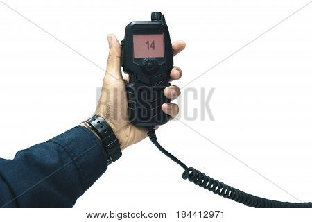hand of Amateur radio holding speaker and press for radio communication theme on white background with clipping path