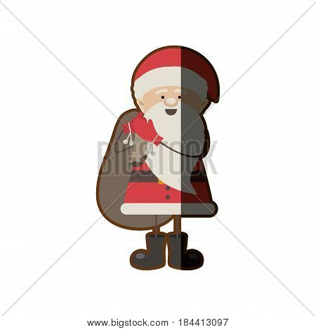 colorful silhouette caricature of santa claus with gift bag and half shadow vector illustration