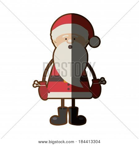colorful silhouette caricature of santa claus with surprised face and half shadow vector illustration