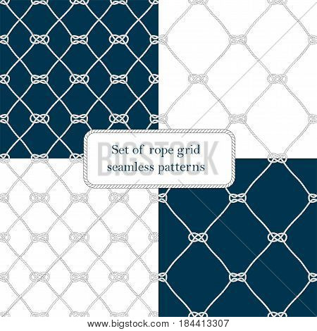 Set of nautical rope seamless tied fishnet patterns on white or dark blue background, cord grid