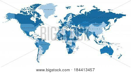 Blue world map with the names of countries. Political map. Every country is isolated.