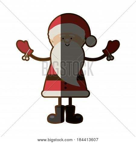 colorful silhouette caricature of santa claus with open arms and half shadow vector illustration