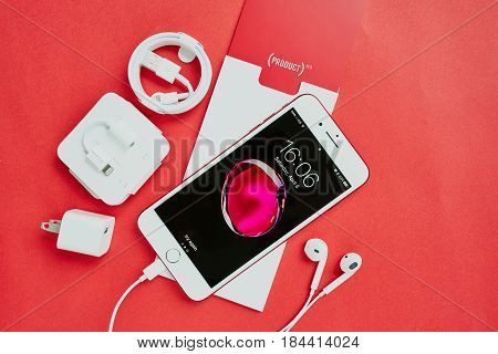 Bangkok, Thailand - April 08, 2017: Special Edition Red Color Apple Product New Iphone 7 Plus