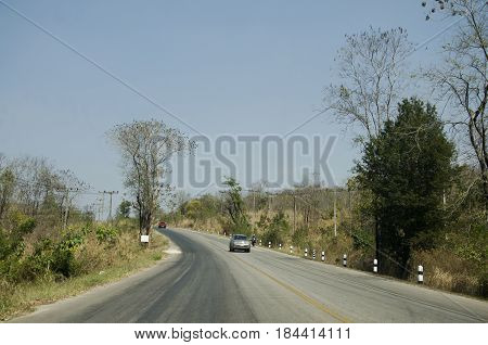Thai Travelers People Driving Car At Countryside Road From Dan Sai Go To Phu Ruea National Park And