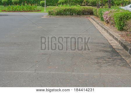 Empty space in parking lot at public park with green trees background.