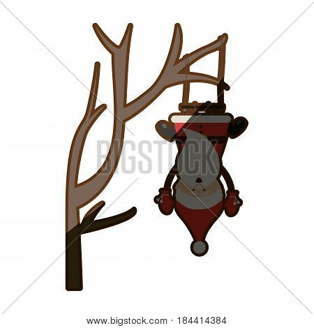 colorful silhouette caricature of santa claus in tree pendant of swing and half shadow vector illustration