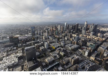 Los Angeles, California, USA - April 12, 2017:  Aerial view of afternoon clouds moving into downtown Los Angeles in Southern California.