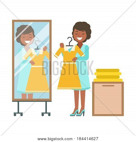 Woman trying on yellow dress in dressing room, colorful vector illustration isolated on a white background
