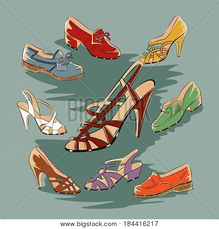 Set of retro vintage female shoes over a blue background