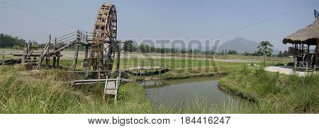 Thai Dam Cultural Village And Big Wooden Turbine Baler Water Wheel