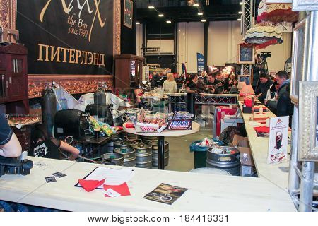 St. Petersburg Russia - 15 April, Mini bar on moto show,15 April, 2017. International Motor Show IMIS-2017 in Expoforurum. Visitors and participants of the annual moto-salon in St. Petersburg.