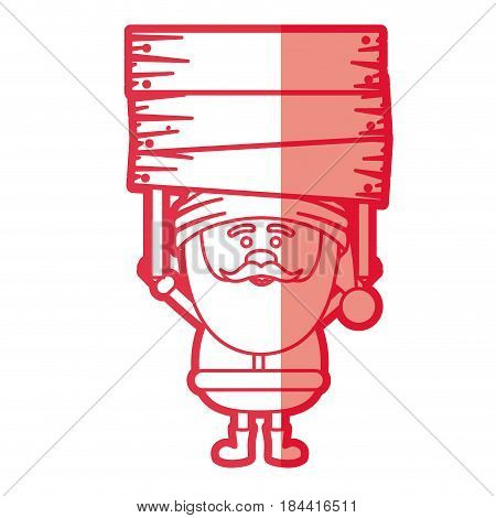 red silhouette of santa claus with wooden banner and half shadow vector illustration
