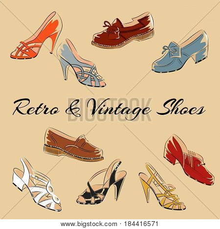 Set of retro vintage female shoes. Sketch vector illustration isolated