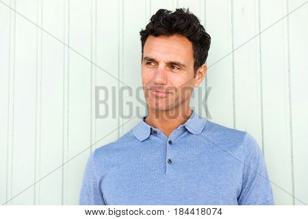 Cool Middle Age Man Glancing To The Side
