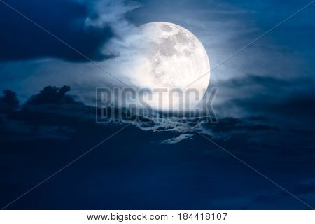 Attractive photo of background nighttime with cloudy. Night sky with beautiful super moon behind clouds. The moon were NOT furnished by NASA.